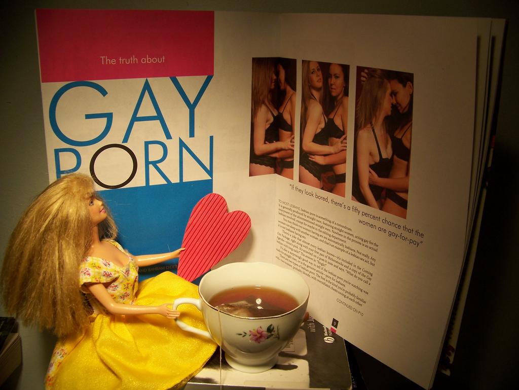 photo by A L 圖上寫著:同志A片的真實。如果她們看起來沒什麼興致,有一半機會她們是「領錢演gay」
