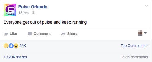 槍擊案當晚,Pulse在臉書上最後一則訊息,要大家逃離Pulse(圖片取自Pulse臉書頁面)